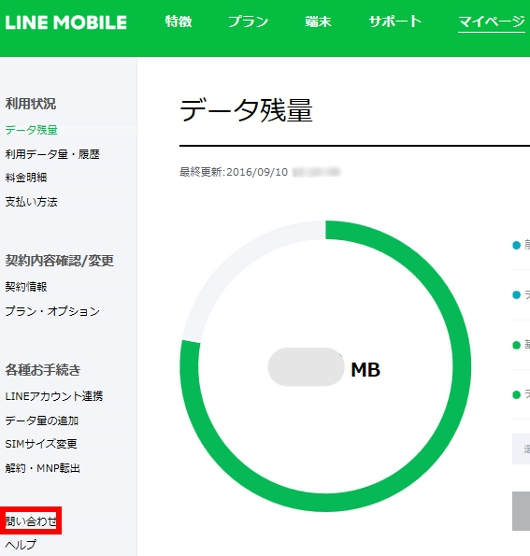 LINE MOBILE 契約者マイページ