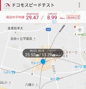 LINE MOBILE スピード計測 自由が丘駅